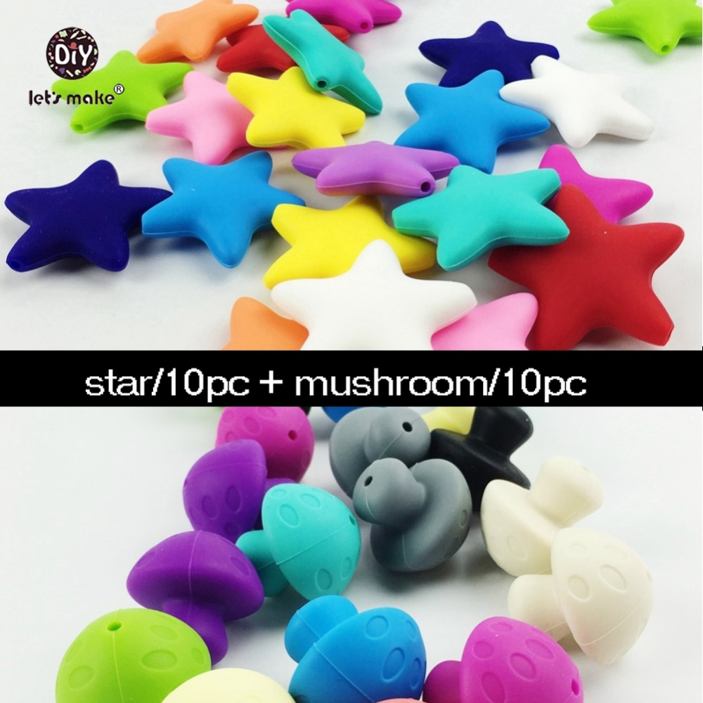 20pcs Necklace Pendant Silicone Mushroom Star Shape Bulk Food Grade Craft Supplies & Tools Nursing Baby Toys Baby Teether Charms(China (Mainland))