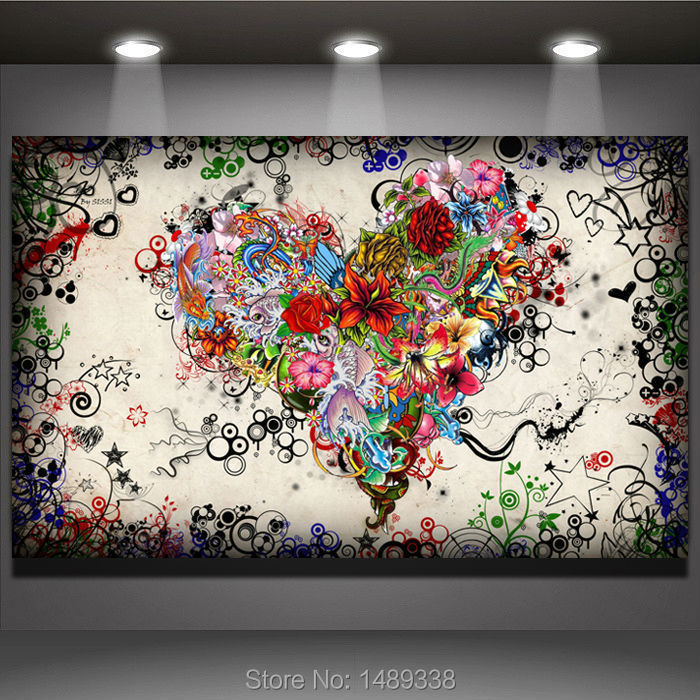 New arrived Modern wall art heart flowers Painting On Canvas Canvas Prints Painting Pictures Decor For Living Room T/771(China (Mainland))
