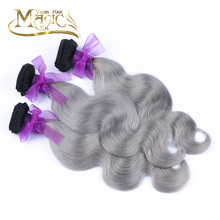 7A Grade Ombre Hair Extensions 1B Silver Grey Weave Brazilian Virgin Human Bundles Body Wave Colored - Magic store
