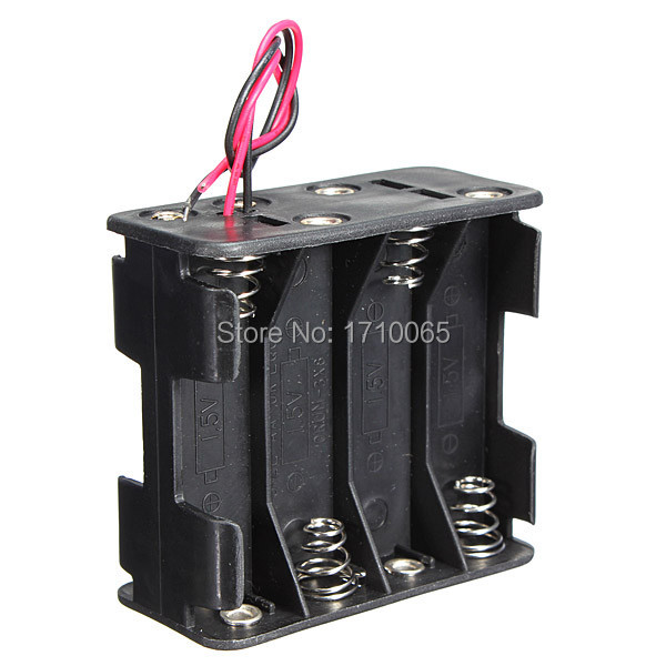 High quality 58x61x30mm Plastic 12V Battery Clip Slot Storage Holder Box Case for 8pcs AA Batteries