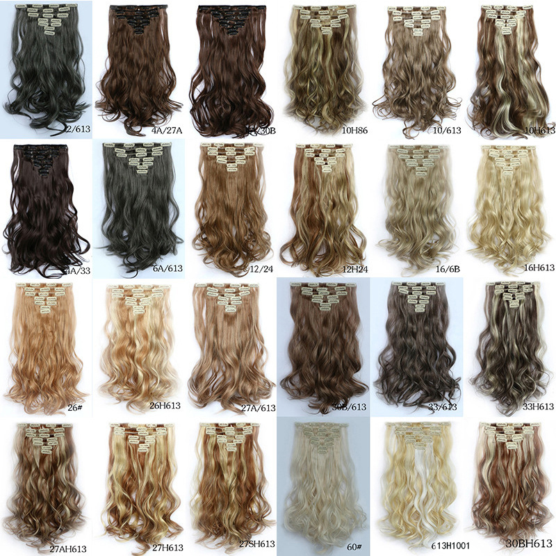 """Lady Woman clip in on lifelike human natural curly hair extension 50CM 20 """" 7pcs/set clips ins hair pieces hairpiece extensions"""
