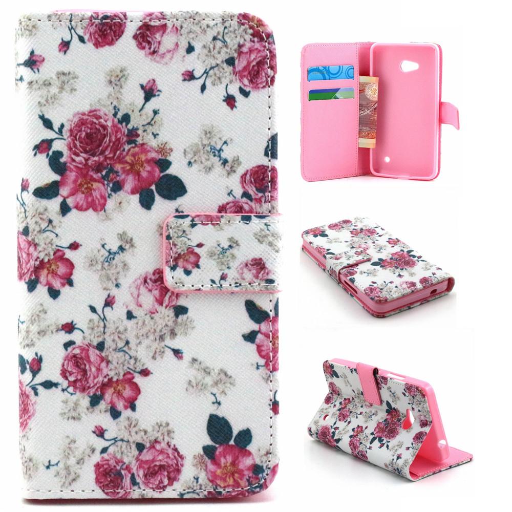 Qiaogle Folio PU Leather Case - F051 / White Mini Rose - for Microsoft Lumia 640 Wallet Cover(China (Mainland))