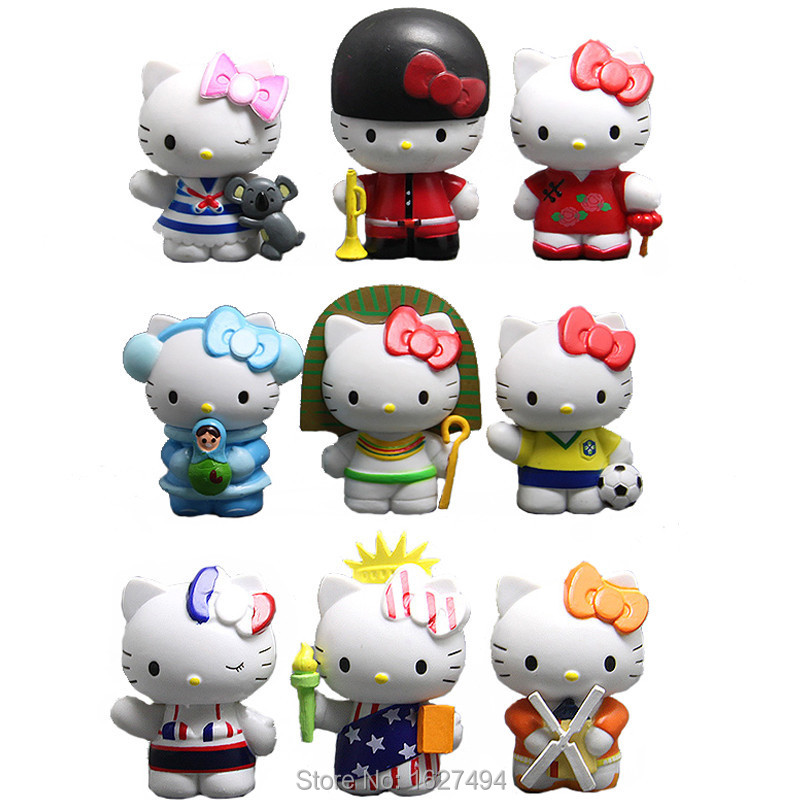 9pcs/set Hello Kitty Sanrio Japanese Miniatures Anime PVC Action Figures Figurines Collectibles Dolls Kids Toys For Boys Girls(China (Mainland))