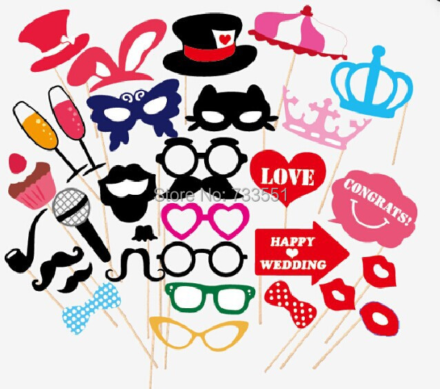 Free Shipping Set Of 31 Party Pack Wedding Photo Booth Props Party Photo Props Party Decorations Party Supplies Masks Mustache(China (Mainland))