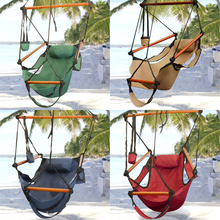 Hammock Hanging Chair Air Deluxe Sky Swing Outdoor Chair Solid Wood 250lb(China (Mainland))