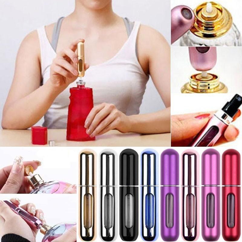 Гаджет   5pcs Mini Portable Travel Refillable Perfume Atomizer Bottle For Spray Scent Pump Case 5ML Empty None Красота и здоровье