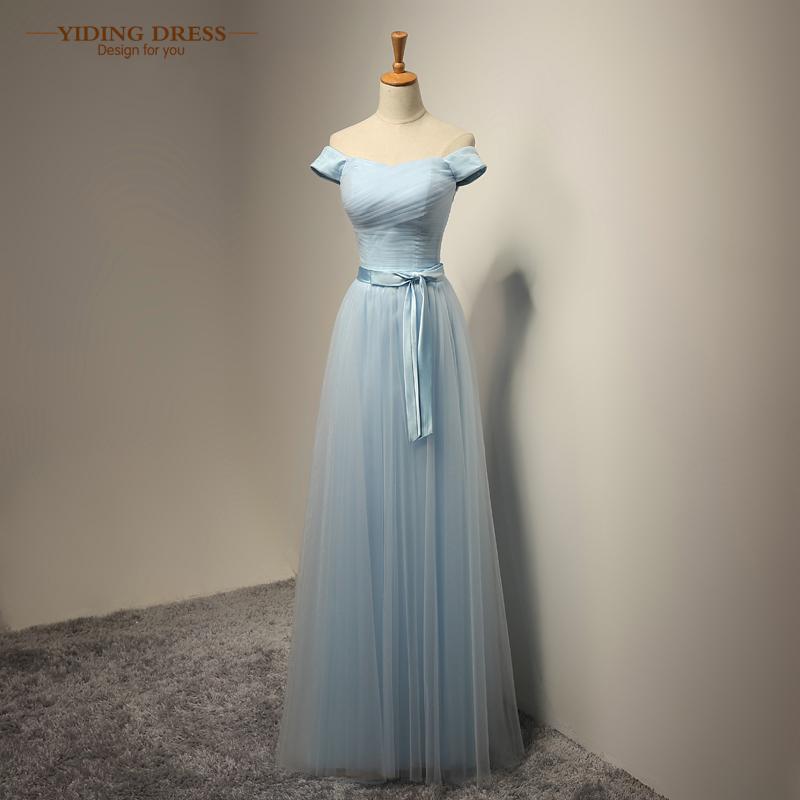 Cap Sleeve Long Bridesmaid Dresses Sky Blue Tulle Wedding Party Dress Plus Size 2017 New Arrive