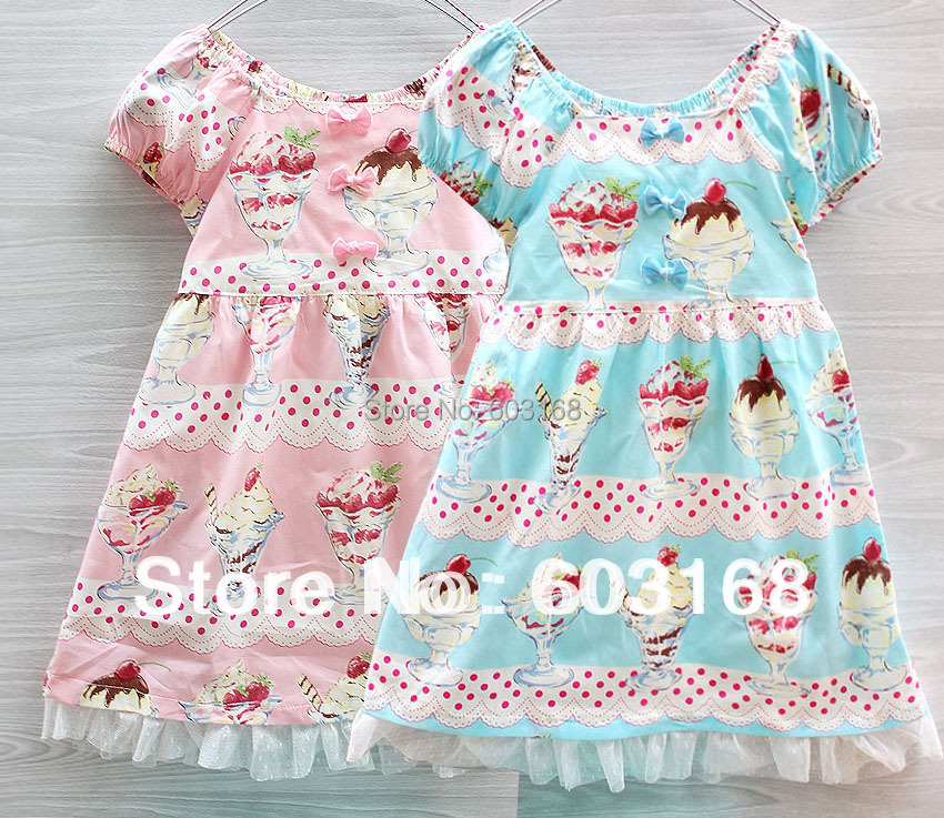 2013 New Arrival Ice Cream Girls Dress Checkered Baby /Kids Clothing Free Shipping{iso-13-4-1-A1}<br><br>Aliexpress