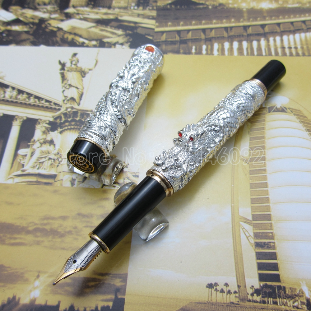 Jinhao Chinese double Dragons Playing With The Pearl Beautiful Advanced Fountain Pen with Gift Box Gold Silver Optional J35F5<br><br>Aliexpress