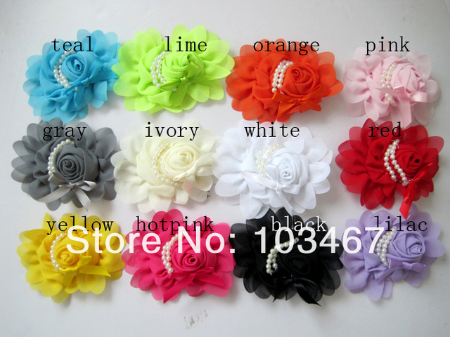 "chiffon rose Flower  5"" x 4"" new children hair flower with pearls 12pcs/lot"