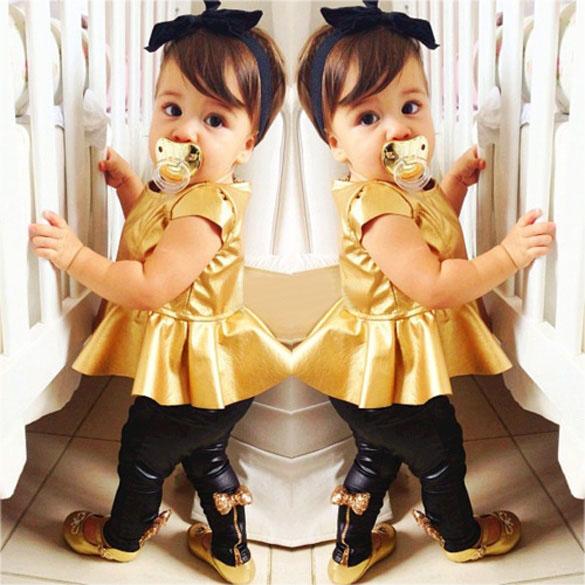 Fashion Baby Girls Kids Shirt Dress + Legging Pants Children Clothes Sets Suit Outfits Golden+Black()