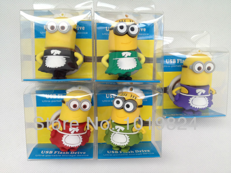 100% real capacity4G 8G 16G Yellow Man put on maid dress Despicable Me USB 2.0 usb flash drive Pen Drive pendrive BN2(China (Mainland))