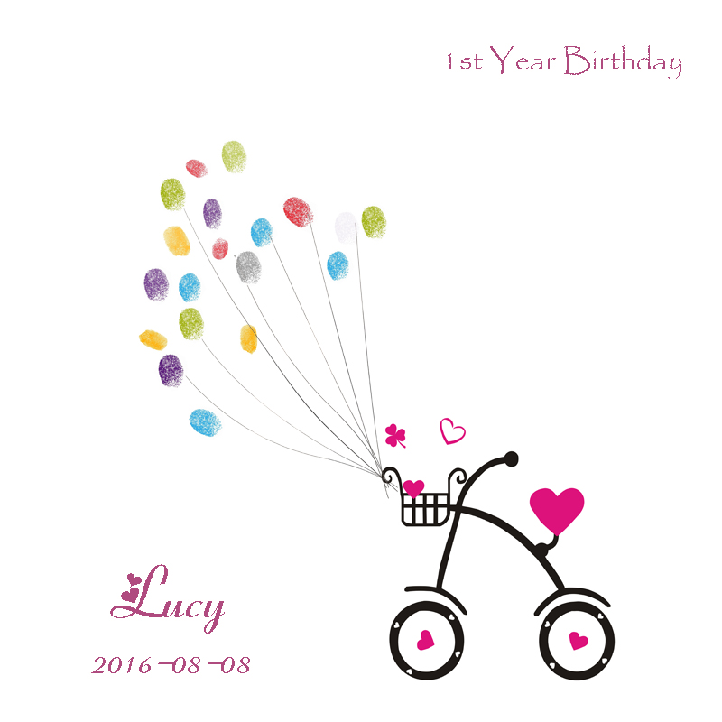 Personalize Fingerprint Guest Book Birthday Gifts Party Decoration Supplies Baby Shower Canvas Printing include inkpads for free(China (Mainland))