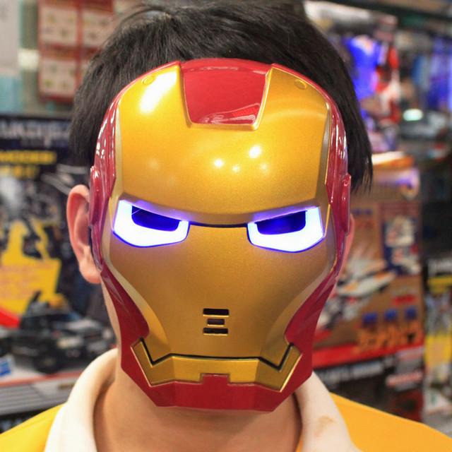 10pcs/lot Iron Man Luminous Mask PVC + LED Kids Toys IRONMAN Cos Mask Free Shipping by Hong Kong Post