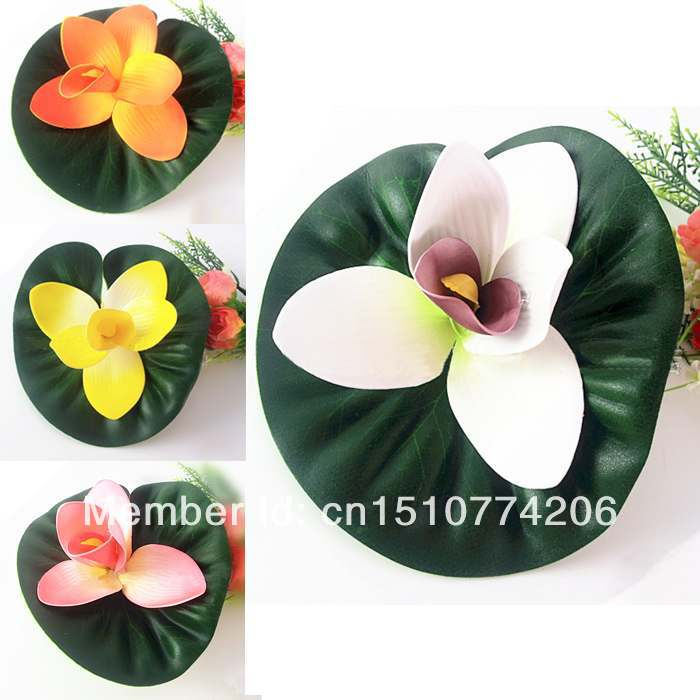 Free Shipping Plastic Fake Decorate Flower Floating Lotus Aquarium Decorate 8IZcM7(China (Mainland))