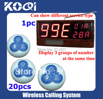 Table Buzzer Call System(full set including 1pcs receiver+ 20pcs button)