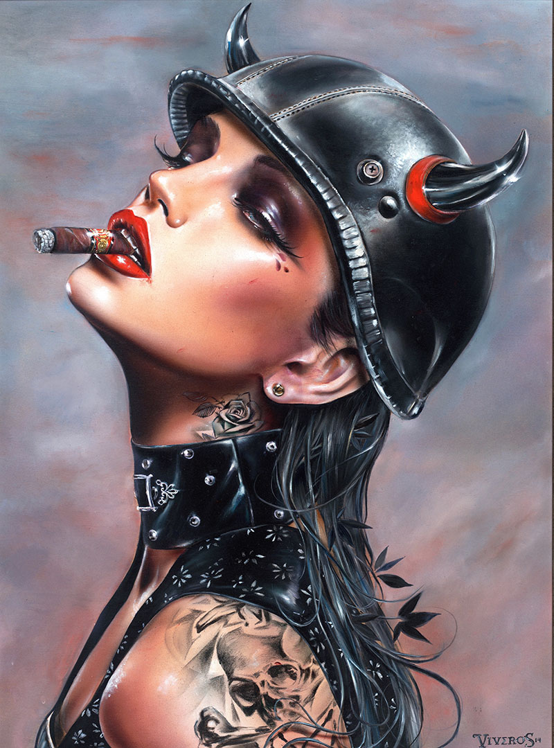 100% Hand-Painted Oil Painting Reproductions on Canvas Smoking Hot Sexy Nude Girl Paintings by Brian M.viveros(China (Mainland))