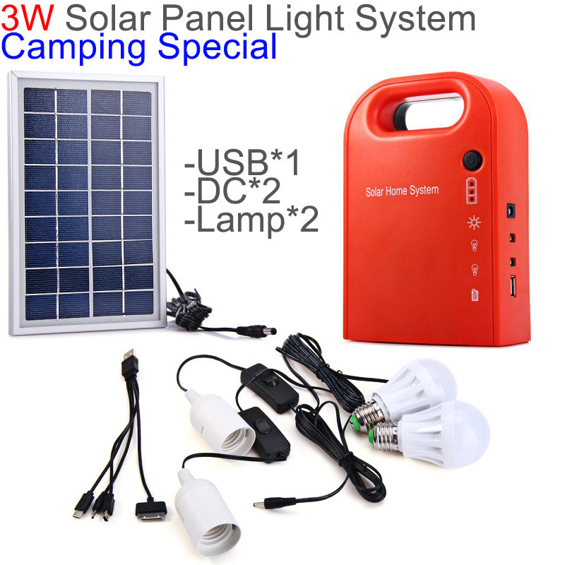Portable 3W Solar Home Light System 2 Lamps Solar Power Panel System Kit USB output for Camping / Hiking / Home Use /(China (Mainland))