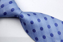 NT0108 Blue Dot Smooth Jacquard Woven Classic Silk Polyester Man s Business Wedding Luxury Tie Casual