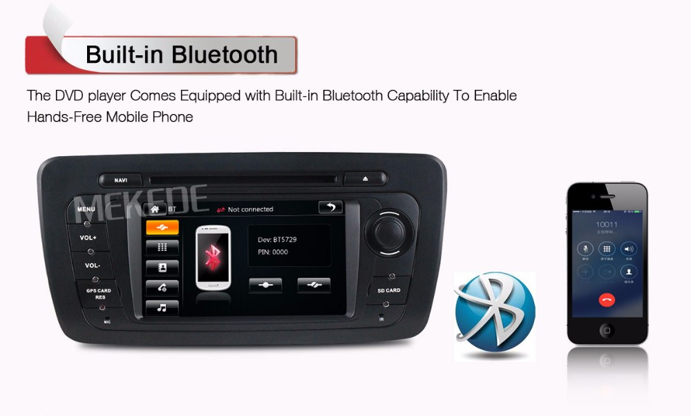 2din Car radio GPS Navigation Player for SEAT IBIZA 2009 2010 2011 2012 2013 with DVD Bluetooth steering wheel control RDS