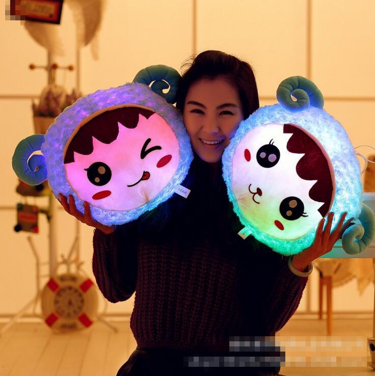 New Arrival Led Light Pillow Cute Animal Luminous Pillow Soft Cusion Cartoon Plush Toy Children Birthday Gift Hot Sale(China (Mainland))
