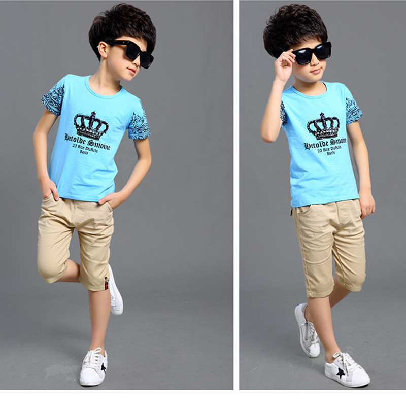 4-13 years old Children boys clothing,New summer 2016 big virgin short sleeve T-shirt and pants suits,Cotton Kids Sports Sets(China (Mainland))