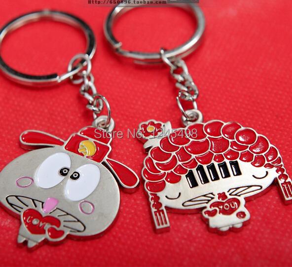 wholesale 10pairs/lot holesale Bride and Bridegroom Marry Wedding Valentine Gift lovely Couple Key Chain Free Shipping(China (Mainland))