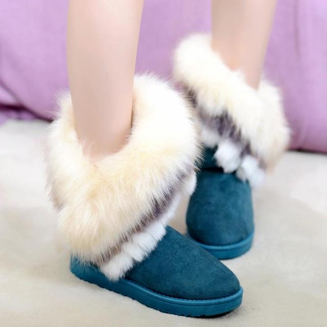 2015 mujeres clásicas Botas de nieve grande de imitación de lana zorro botines de piel de invierno zapatos caliente Mujer Ug Botas Mujer Botte Femme