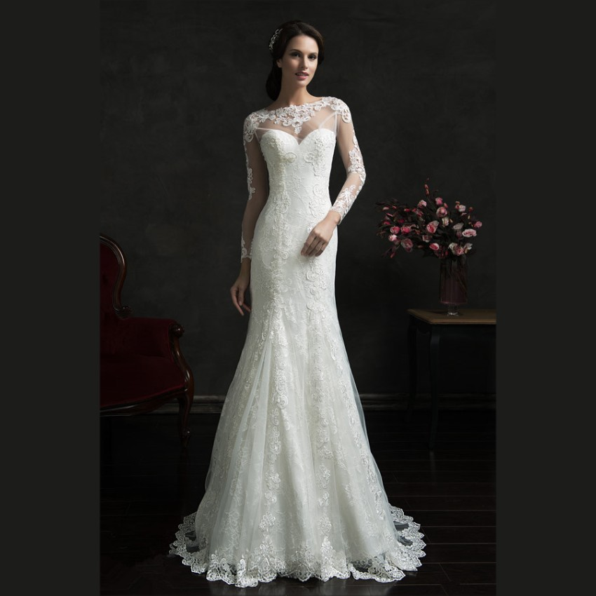 Buy 2015 romantic white lace mermaid for Long sleeve white lace wedding dress