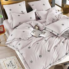 Alanna Solid Sweet style Little red Heart Flower Plant leaves and animals Printed 4/7pcs Bedding set with Different Color(China)