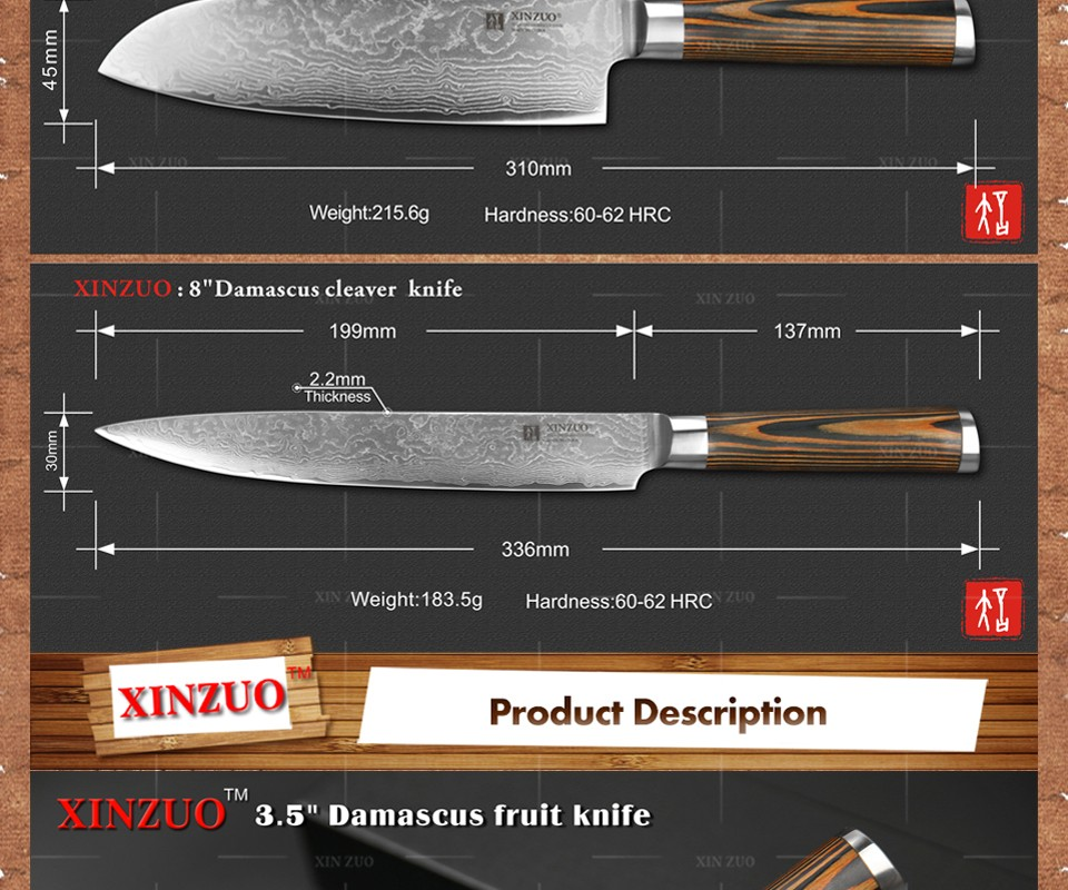 Buy XINZUO 3 pcs Kitchen knives set Damascus kitchen knife sharp Japanese chef cleaver paring knife kitchen tool free shipping cheap