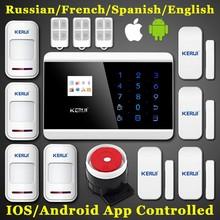 KERUI Quad Band Touch Keypad TFT Dislay Wireless GSM PSTN House Security Voice Burglar Alarm IOS Android APP Remote control ARM(China (Mainland))