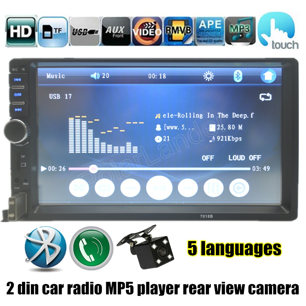 Фотография 2016 7 Inch Auto radio Double DIN Car Touch Screen with rear view camera Bluetooth FM MP4 MP5 player USB TF free shipping