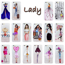 OWNEST Fashionable Dress Shopping Girl Cases For iPhone 5 5s se 6 6s plus Transparent Clear Soft Silicon tpu Phone Cover