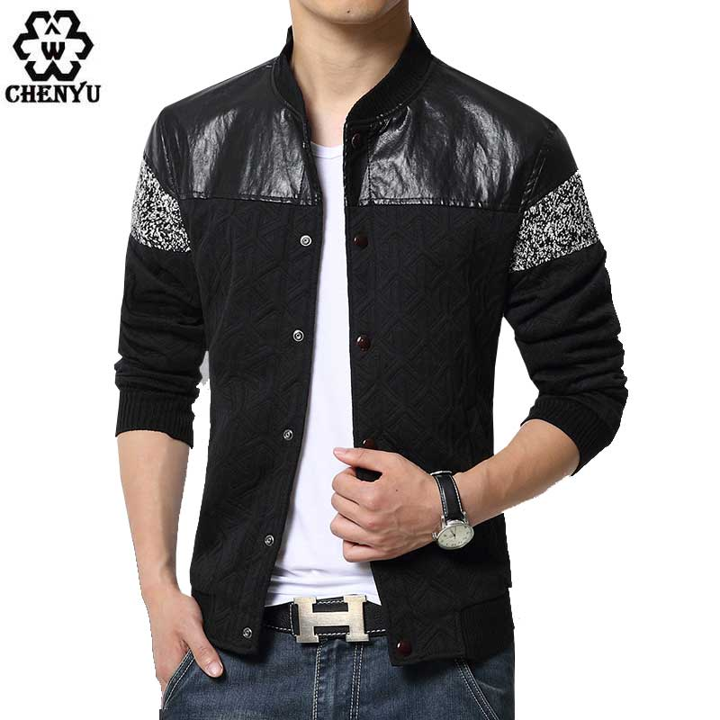 2016 New Fashion Brand Jacket Men Trend Patchwork Pu