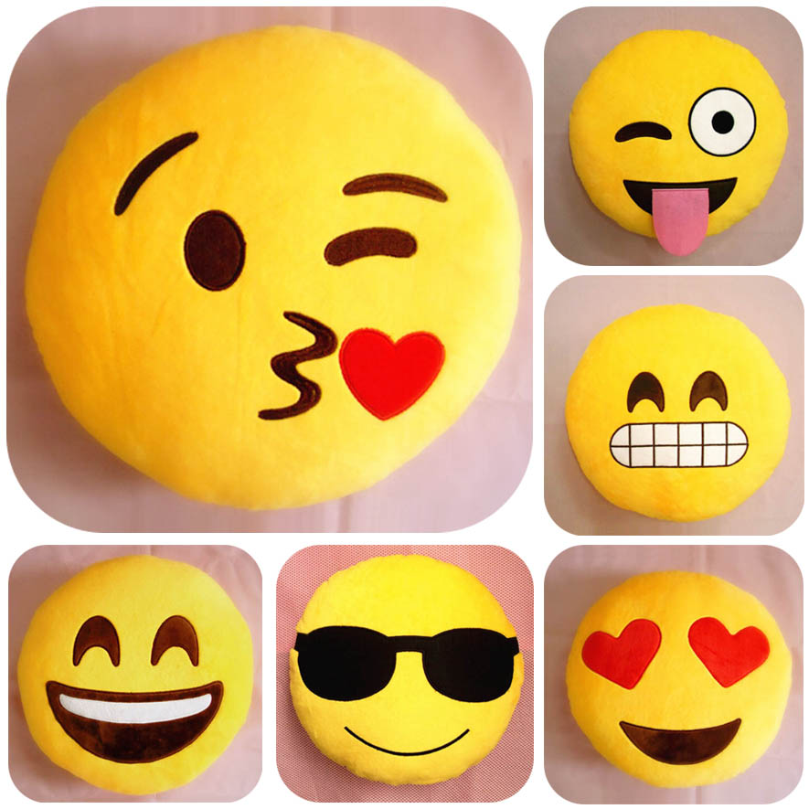 26 Style Hot Emoji PIllow Smile Circle Shape Cojines Yellow Expression Ikea Sofa Tray Plush Soft Cushions Toys Brinquedo(China (Mainland))