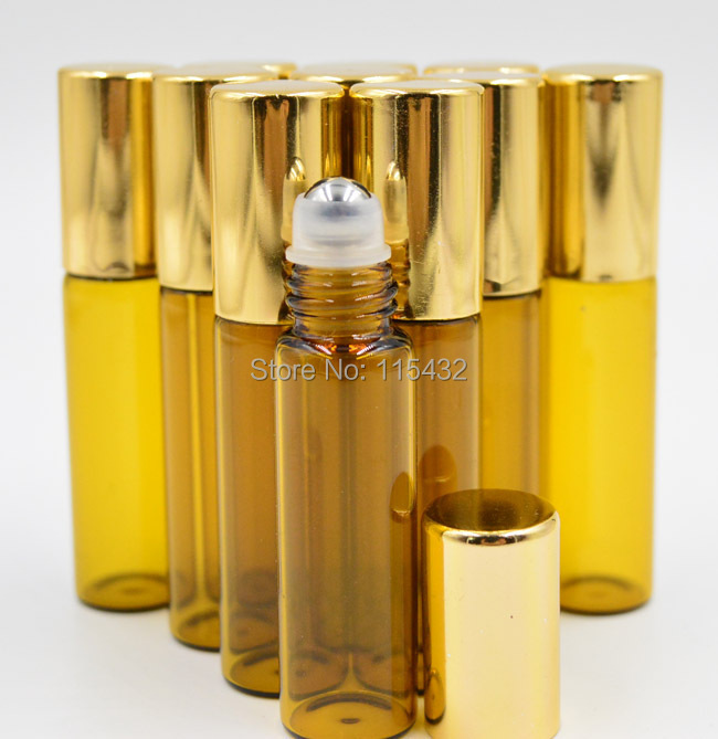 10pcs Refillable AMBER 5ml MINI ROLL ON GLASS BOTTLES ESSENTIAL OIL Steel Metal Roller ball fragrance PERFUME Free Tracking(China (Mainland))