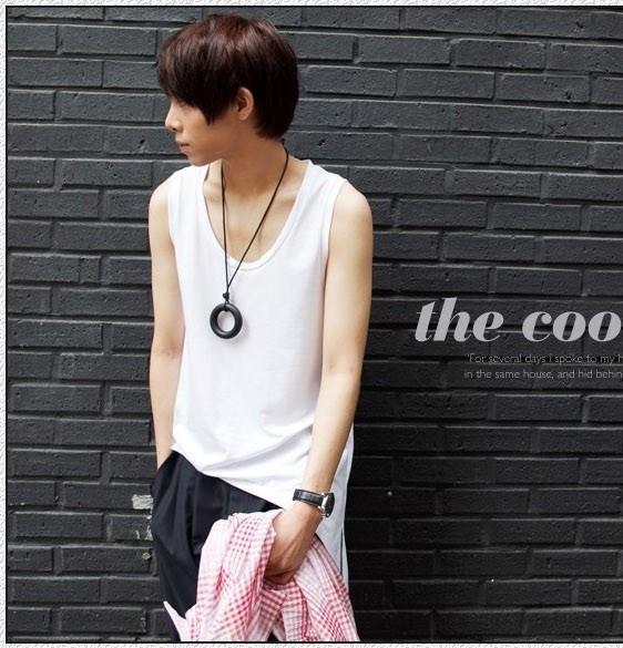 2016 Summer clothes shoulders irregular hem Personalized sleeveless T-shirt men's vest tank tops,free shipping!(China (Mainland))