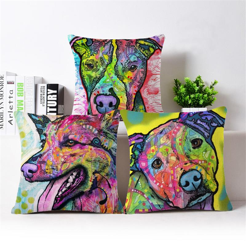 Paiting Dog Cushion Covers Sofa Throw Pillows Decorative Throw Pillow Covers Pillowcase Garden Furniture Cushions For Car Seat(China (Mainland))