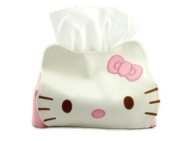 Home Decor Creative New Hello Kitty Lovely PU Leather Tissue Box Case Napkin Paper Holder Cover(China (Mainland))