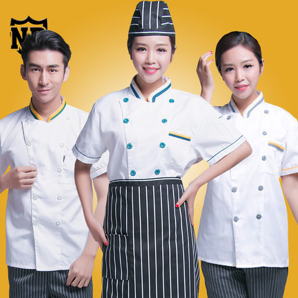Double-breasted Short-sleeved women / men Chef service Hotel working wear Restaurant work clothes Tooling uniform cook Tops(China (Mainland))