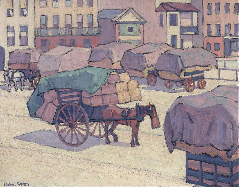 Canvas Art Prints Stretched Framed Giclee World Famous Artist Oil Painting Robert Polhill Bevan Hay Carts Cumberland Market(China (Mainland))