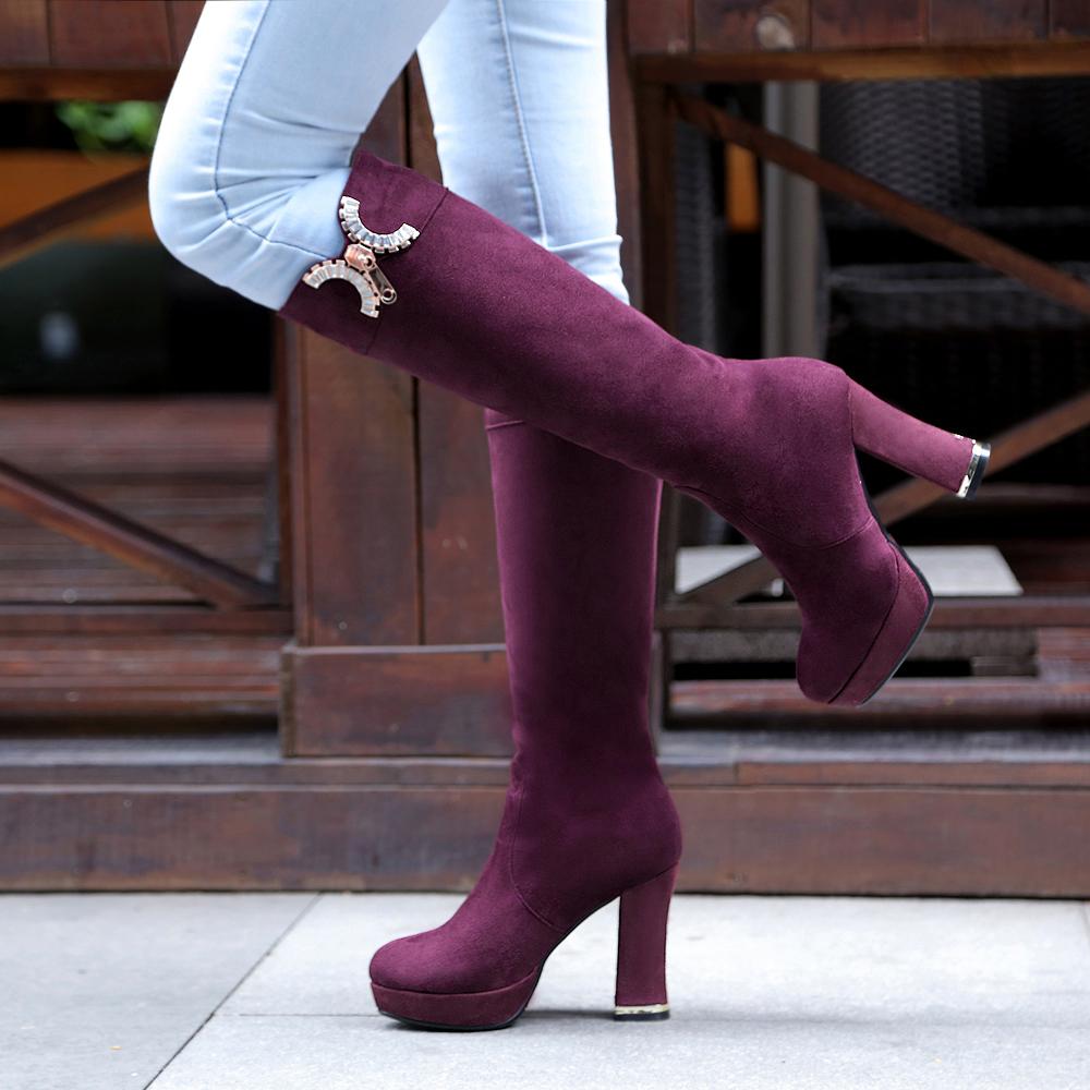 2014 new fashion knee high thick heels boots zipper