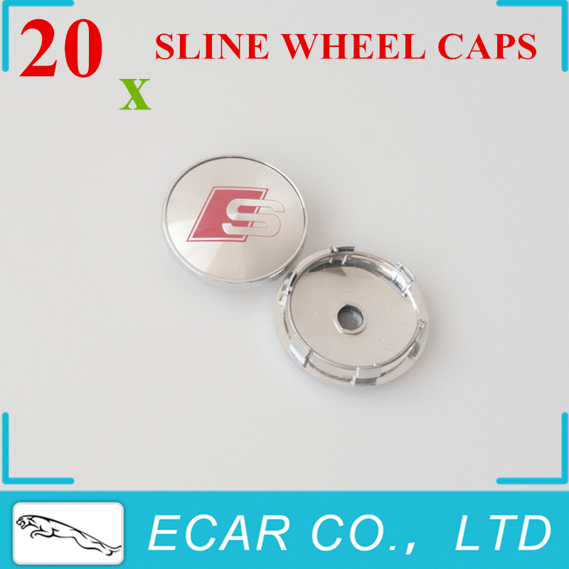 Car Styling 20 x 60mm SLINE Metal Chrome RS Car Wheel Hub Caps Center Rim Cover Emblem Badge Auto Accessories(China (Mainland))