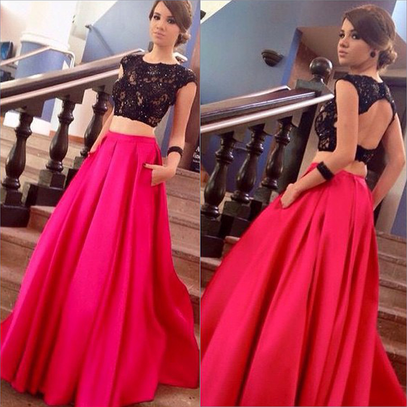 2016 Red Satin Evening Dresses 2 Piece Long Elegant Prom Gowns Robe De Soiree Formal Party Dresses(China (Mainland))