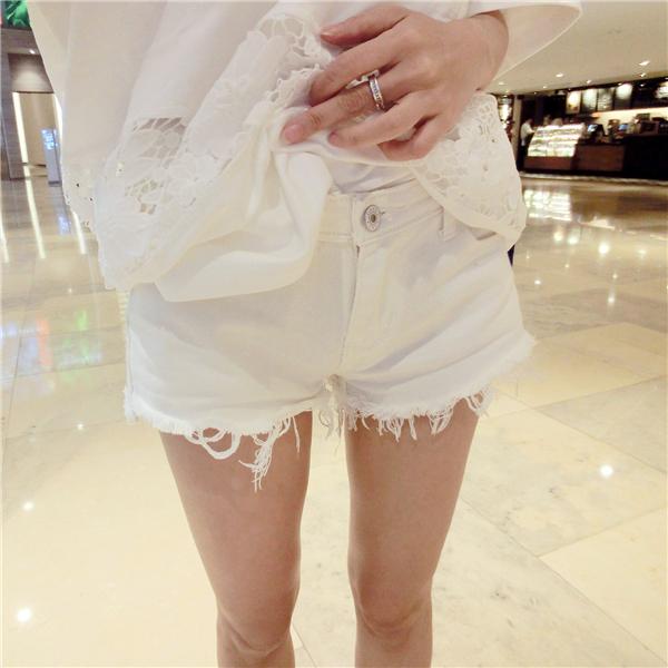 2015 white denim shorts female fashion flash hole trousers hot plus size clothing - Dick Cowboy store