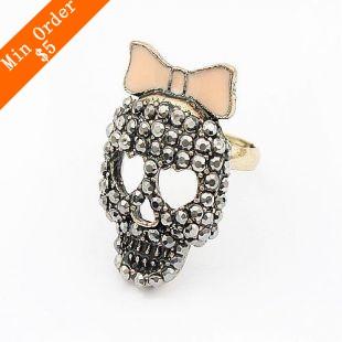 2015 New Fashion Hot Selling Sparkling Sweet Pink Bow Heart-shaped Eye Skull Ring (Bronze) R246(China (Mainland))