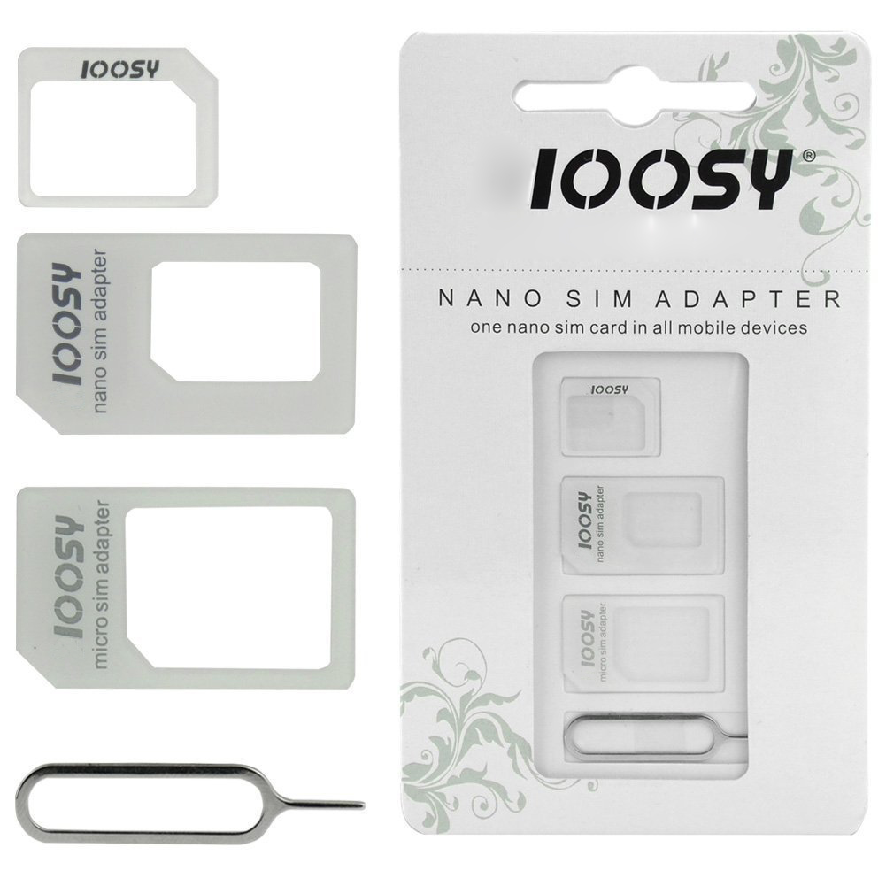 1Pcs/Lot NOOSY Sim Card Adapter 4 in 1 Micro SIM Adapter Universal Kit for Phone and Tablets with Eject Pin Key Retail Package(China (Mainland))