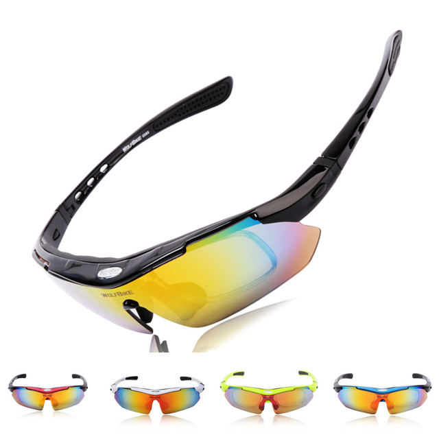 WOLFBIKE Polarized Cycling Sun Glasses Outdoor Sports Bicycle Glasses Bike Sunglasses Driving Racing Goggles Eyewear 5 Lens
