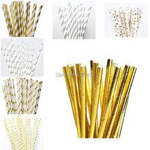 25 stücke Umweltfreundliche Folie Silber/Gold Papierstrohe für Hochzeit Kinder Geburtstagsparty Dekoration Lieferungen(China (Mainland))